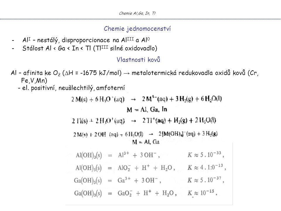 Chemie jednomocenství -Al I – nestálý, disproporcionace na Al III a Al 0 -Stálost Al < Ga < In < Tl (Tl III silné oxidovadlo) Al – afinita ke O 2 (  H = -1675 kJ/mol) → metalotermická redukovadla oxidů kovů (Cr, Fe,V,Mn) - el.