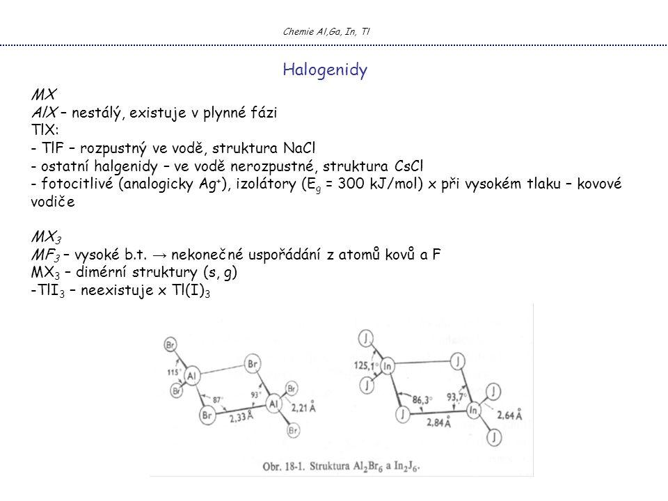 Chemie Al,Ga, In, Tl Halogenidy MX AlX – nestálý, existuje v plynné fázi TlX: - TlF – rozpustný ve vodě, struktura NaCl - ostatní halgenidy – ve vodě nerozpustné, struktura CsCl - fotocitlivé (analogicky Ag + ), izolátory (E g = 300 kJ/mol) x při vysokém tlaku – kovové vodiče MX 3 MF 3 – vysoké b.t.