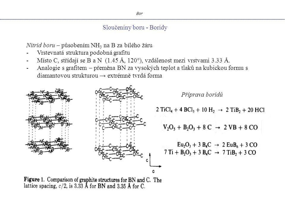 Bor Sloučeniny boru - Boridy Nitrid boru – působením NH 3 na B za bílého žáru -Vrstevnatá struktura podobná grafitu -Místo C, střídají se B a N (1.45 Å, 120°), vzdálenost mezi vrstvami 3.33 Å.