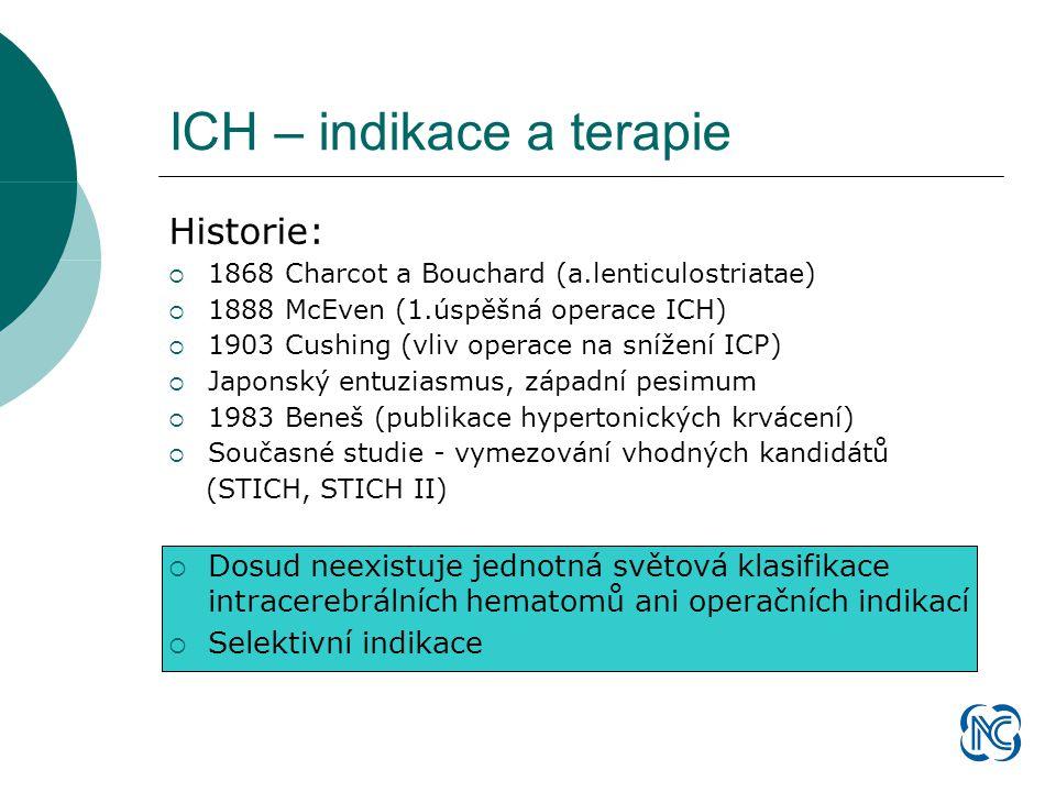 Historie:  1868 Charcot a Bouchard (a.lenticulostriatae)  1888 McEven (1.úspěšná operace ICH)  1903 Cushing (vliv operace na snížení ICP)  Japonský entuziasmus, západní pesimum  1983 Beneš (publikace hypertonických krvácení)  Současné studie - vymezování vhodných kandidátů (STICH, STICH II)  Dosud neexistuje jednotná světová klasifikace intracerebrálních hematomů ani operačních indikací  Selektivní indikace ICH – indikace a terapie