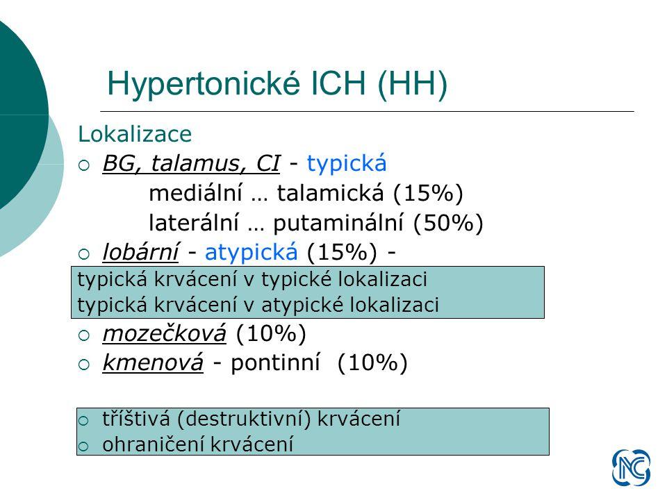 Hypertonické ICH (HH) Lokalizace  BG, talamus, CI - typická mediální … talamická (15%) laterální … putaminální (50%)  lobární - atypická (15%) - typická krvácení v typické lokalizaci typická krvácení v atypické lokalizaci  mozečková (10%)  kmenová - pontinní (10%)  tříštivá (destruktivní) krvácení  ohraničení krvácení