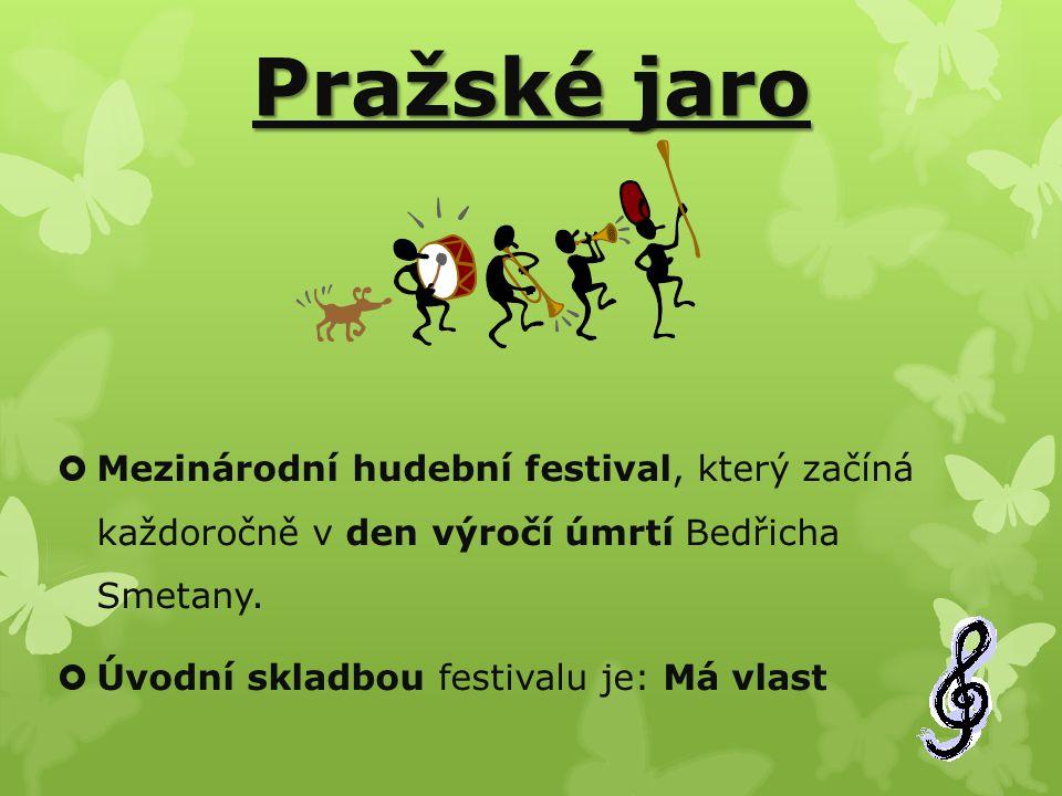 Pražské jaro  Mezinárodní hudební festival, který začíná každoročně v den výročí úmrtí Bedřicha Smetany.  Úvodní skladbou festivalu je: Má vlast