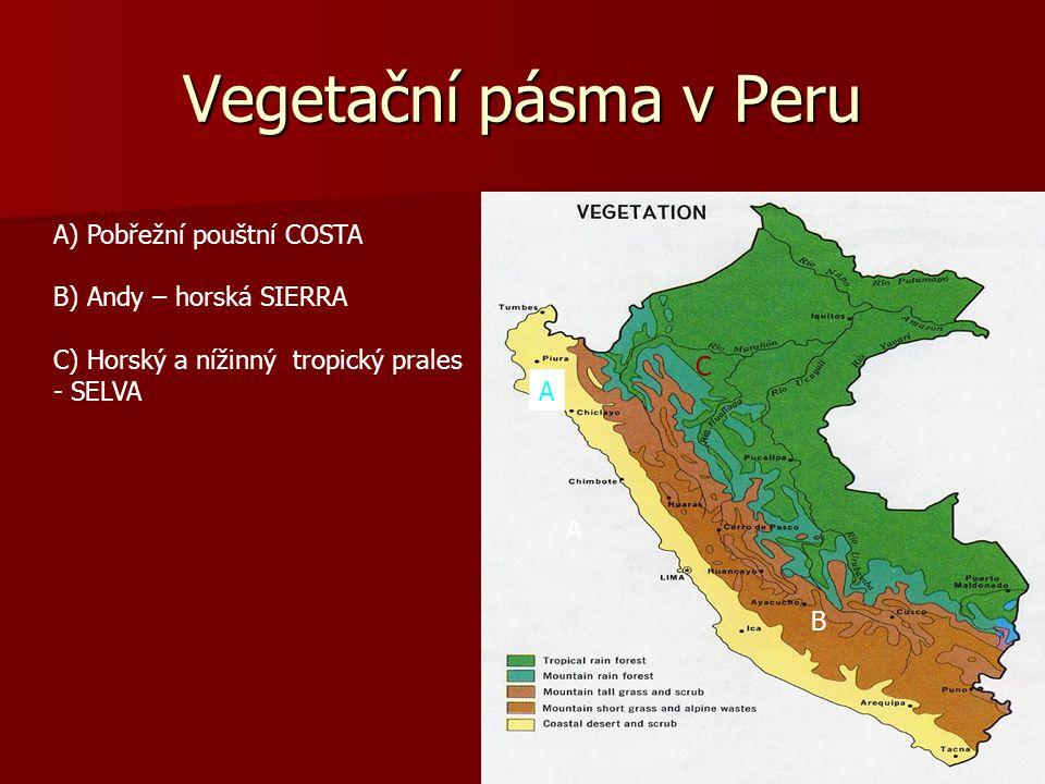Republika Peru 1,285.220 km² Peru je tedy rozlohou podobné: a) Indii b) Etiopii c) Finsku d) Paraguay….. Je naznačena nejobvyklejší trasa Nejvyšší hor