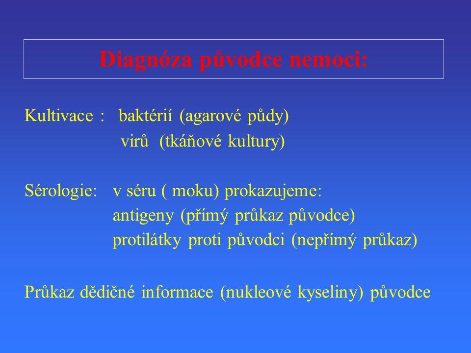 Diagnóza p ů vodce nemoci: Kultivace : baktérií (agarové půdy) vir ů (tkáňové kultury) Sérologie:v séru ( moku) prokazujeme: antigeny (p ř ímý pr ů ka
