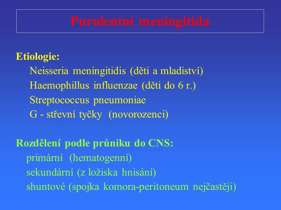 Purulentní meningitid a Etiologie: Neisseria meningitidis (děti a mladiství) Haemophillus influenzae (děti do 6 r.) Streptococcus pneumoniae G - střevní tyčky (novorozenci) Rozd ě lení podle průniku do CNS : primární (hematogenní) sekundární ( z lo ž isk a hnisání) shuntové (spojka komora-peritoneum nejčastěji)