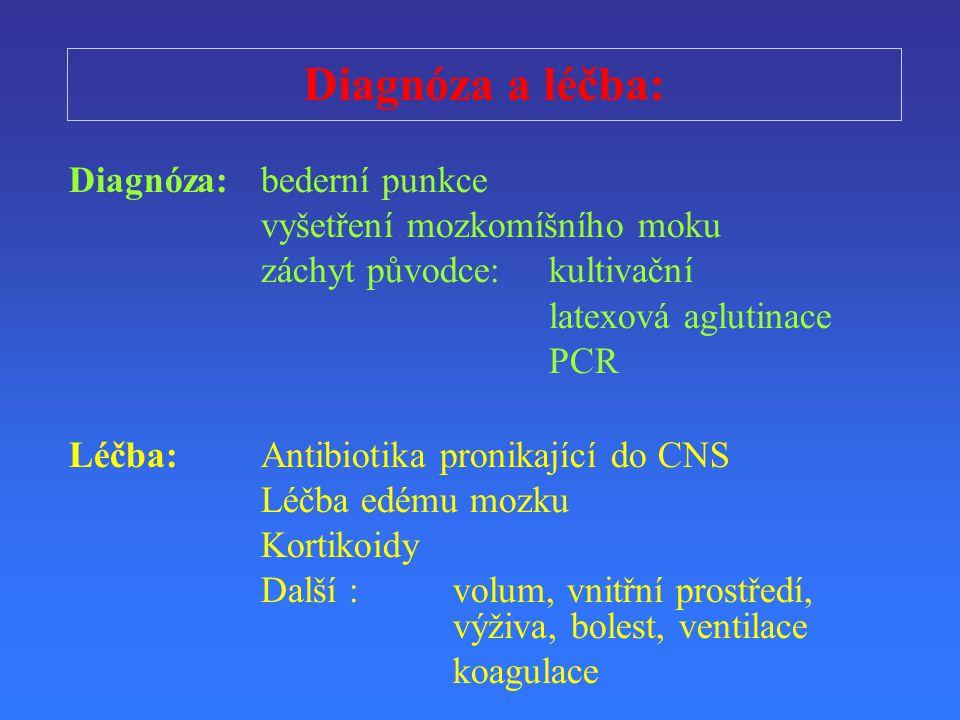 Diagnóza a lé č ba: Diagnóza:bederní punkce vyšet ř ení mozkomíšního moku záchyt p ů vodce: kultiva č ní latexová aglutinace PCR Lé č ba:Antibiotika p