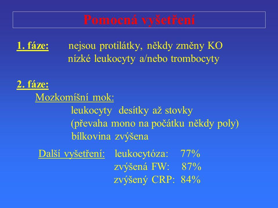 Pomocná vyšet ř ení 1. f áze: nejsou protilátky, někdy změny KO nízké leukocyty a/nebo trombocyty 2. f áze: Mozkomíšní mok: leukocyty desítky až stovk