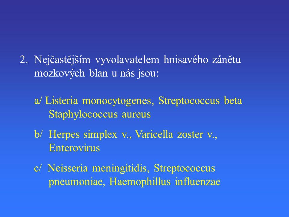 2.Nejčastějším vyvolavatelem hnisavého zánětu mozkových blan u nás jsou: a/ Listeria monocytogenes, Streptococcus beta Staphylococcus aureus b/ Herpes