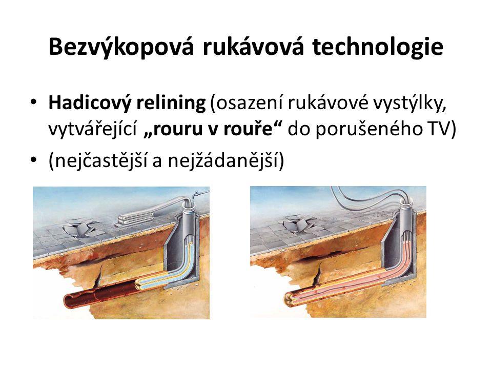 """Bezvýkopová rukávová technologie Hadicový relining (osazení rukávové vystýlky, vytvářející """"rouru v rouře"""" do porušeného TV) (nejčastější a nejžádaněj"""