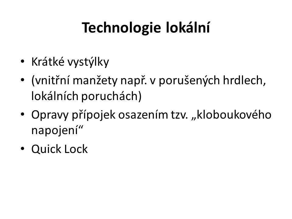 """Technologie lokální Krátké vystýlky (vnitřní manžety např. v porušených hrdlech, lokálních poruchách) Opravy přípojek osazením tzv. """"kloboukového napo"""