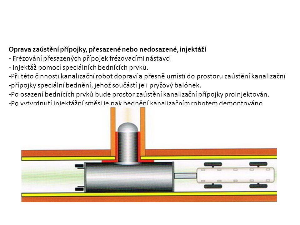 Oprava zaústění přípojky, přesazené nebo nedosazené, injektáží - Frézování přesazených přípojek frézovacími nástavci - Injektáž pomocí speciálních bed