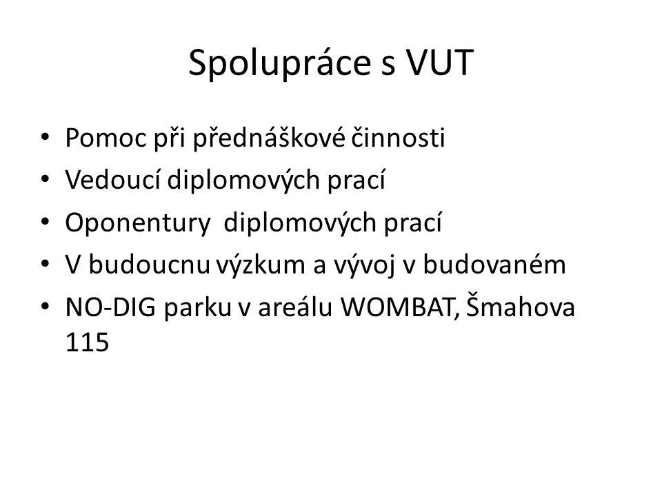 Spolupráce s VUT Pomoc při přednáškové činnosti Vedoucí diplomových prací Oponentury diplomových prací V budoucnu výzkum a vývoj v budovaném NO-DIG pa