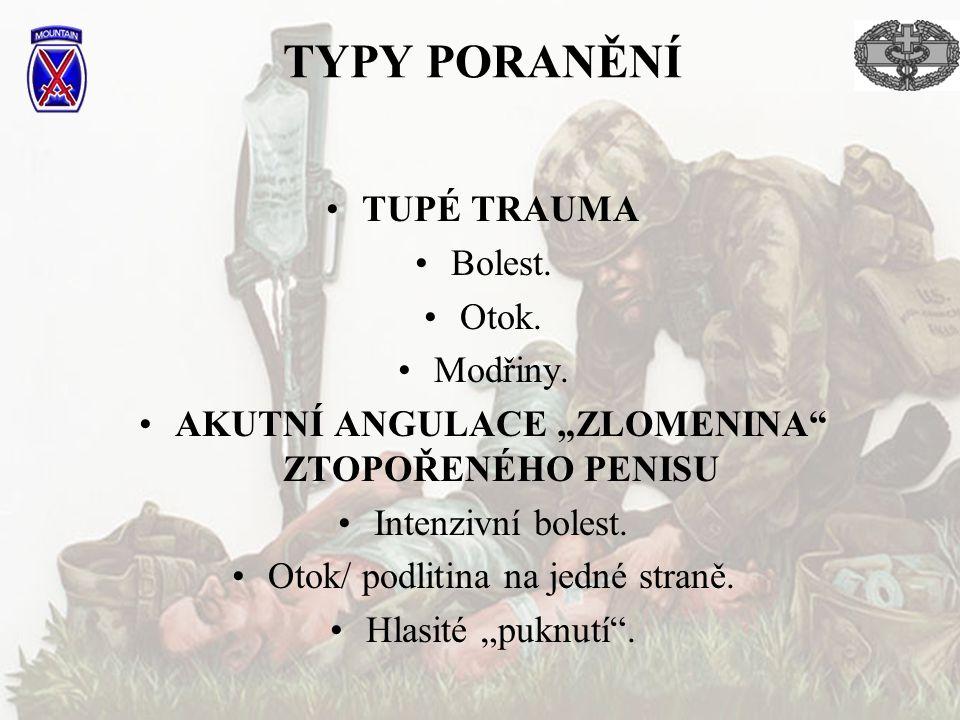 TYPY PORANĚNÍ TUPÉ TRAUMA Bolest.Otok. Modřiny.