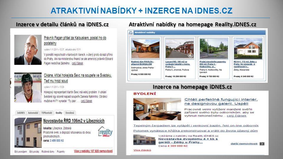 ATRAKTIVNÍ NABÍDKY + INZERCE NA IDNES.CZ Atraktivní nabídky na homepage Reality.iDNES.cz Inzerce na homepage iDNES.cz Inzerce v detailu článků na iDNE