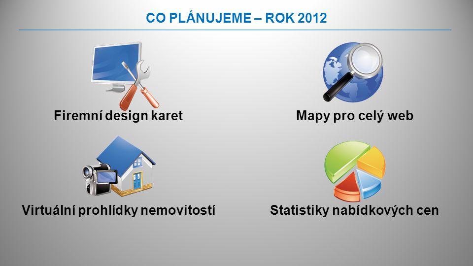 CO PLÁNUJEME – ROK 2012 Firemní design karetMapy pro celý web Statistiky nabídkových cenVirtuální prohlídky nemovitostí