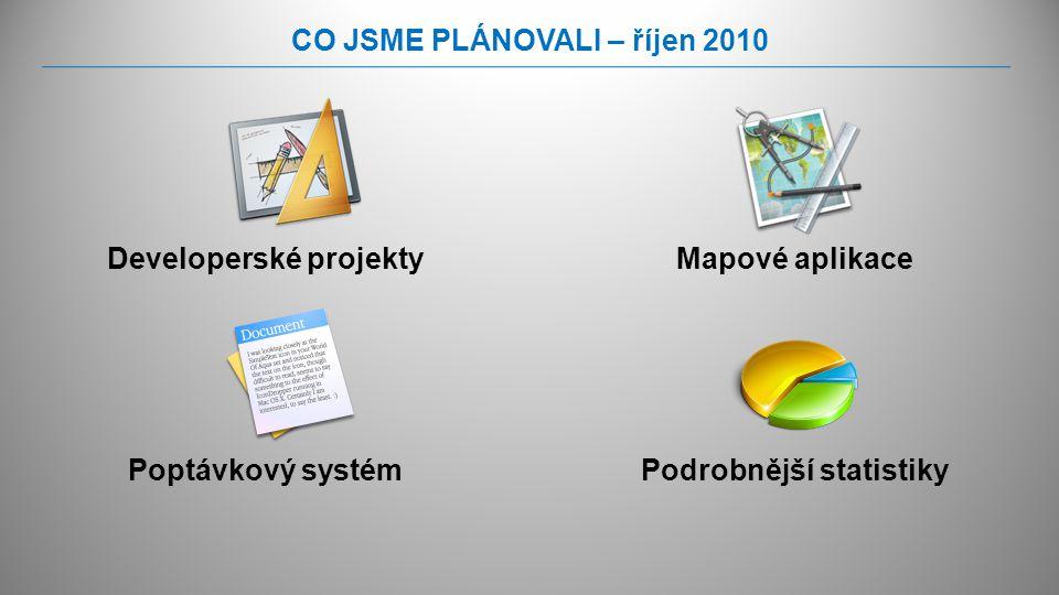 CO JSME PLÁNOVALI – říjen 2010 Developerské projektyMapové aplikace Podrobnější statistikyPoptávkový systém