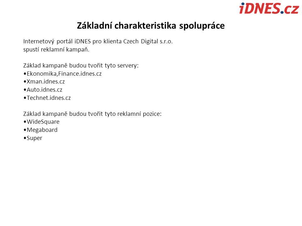 Internetový portál iDNES pro klienta Czech Digital s.r.o. spustí reklamní kampaň. Základ kampaně budou tvořit tyto servery: Ekonomika,Finance.idnes.cz