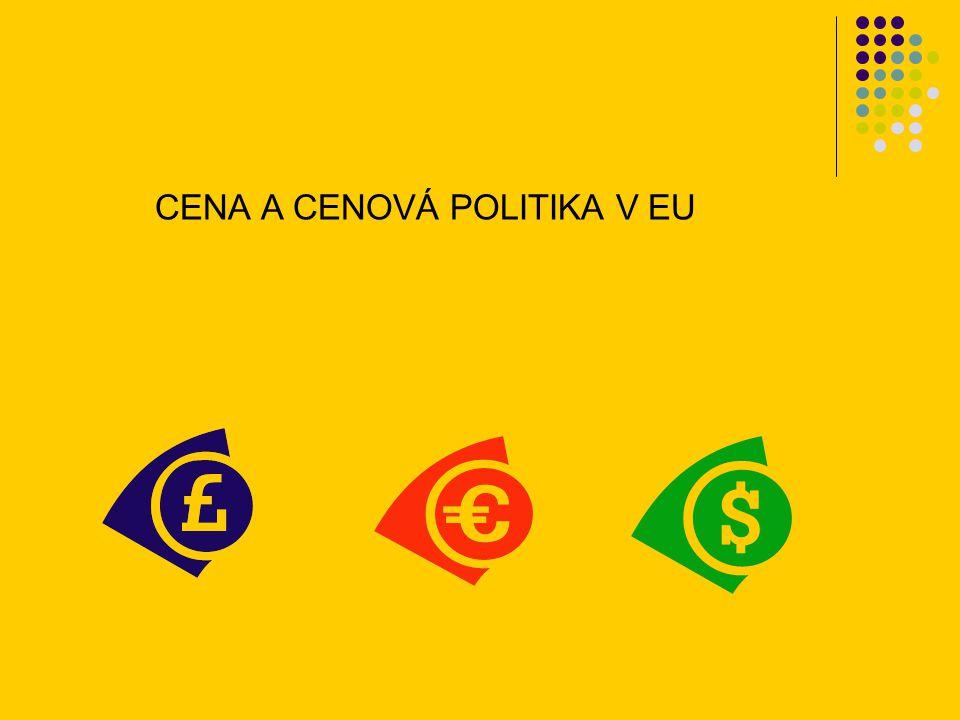 cena a cenová politika - ovlivňující faktory interní faktory: podnikové cíle marketingové cíle marketingový mix náklady cena a cenová politika externí faktory makro: Regulace trhu - kontrola, daně Směnné kurzy Inflace Ekonomika … cenová tvorba NÍZKÁ CENA podnik nemůže tvořit zisk náklady ceny konkurence a hodnota další externí a vnímaná interní faktory zákazníky VYSOKÁ CENA bude poptávka.
