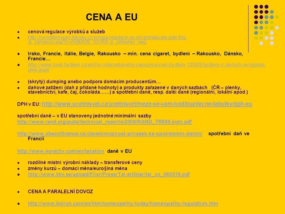 CENA A EU cenová regulace výrobků a služeb http://neviditelnypes.lidovky.cz/evropa-regulace-se-siri-pomalu-ale-jiste-fdg- /p_zahranici.asp?c=A090426_101405_p_zahranici_wag http://neviditelnypes.lidovky.cz/evropa-regulace-se-siri-pomalu-ale-jiste-fdg- /p_zahranici.asp?c=A090426_101405_p_zahranici_wag Irsko, Francie, Itálie, Belgie, Rakousko – min.