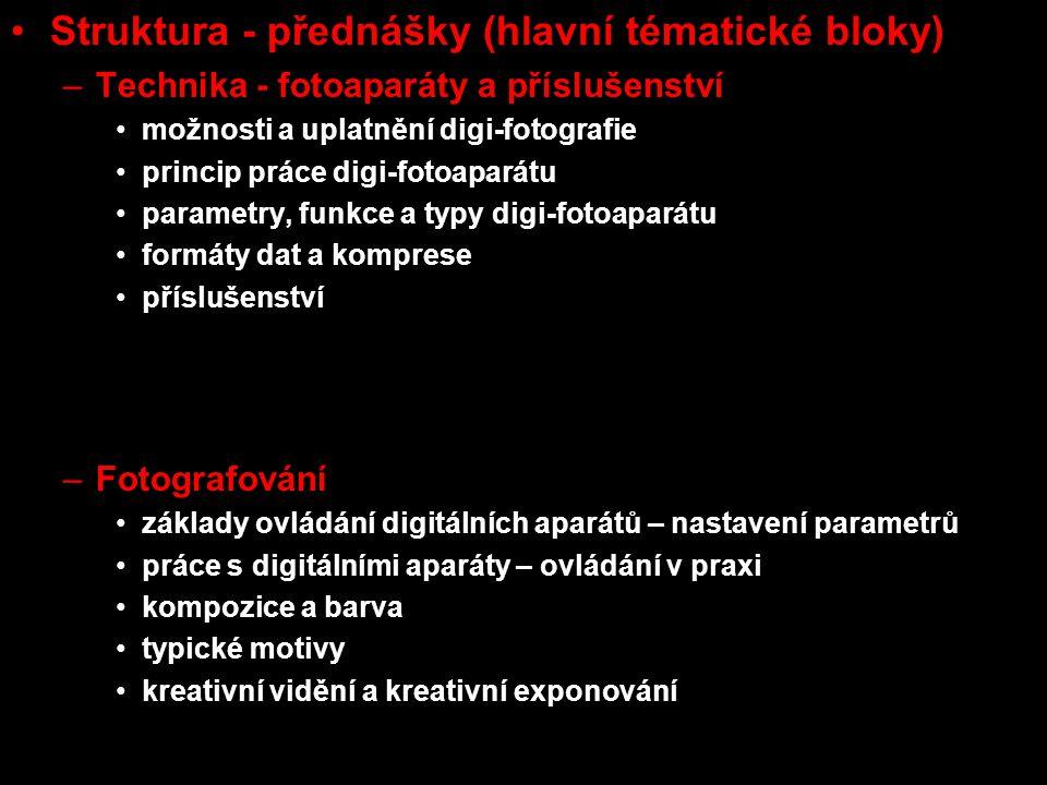 Struktura - přednášky (hlavní tématické bloky) –Technika - fotoaparáty a příslušenství možnosti a uplatnění digi-fotografie princip práce digi-fotoapa