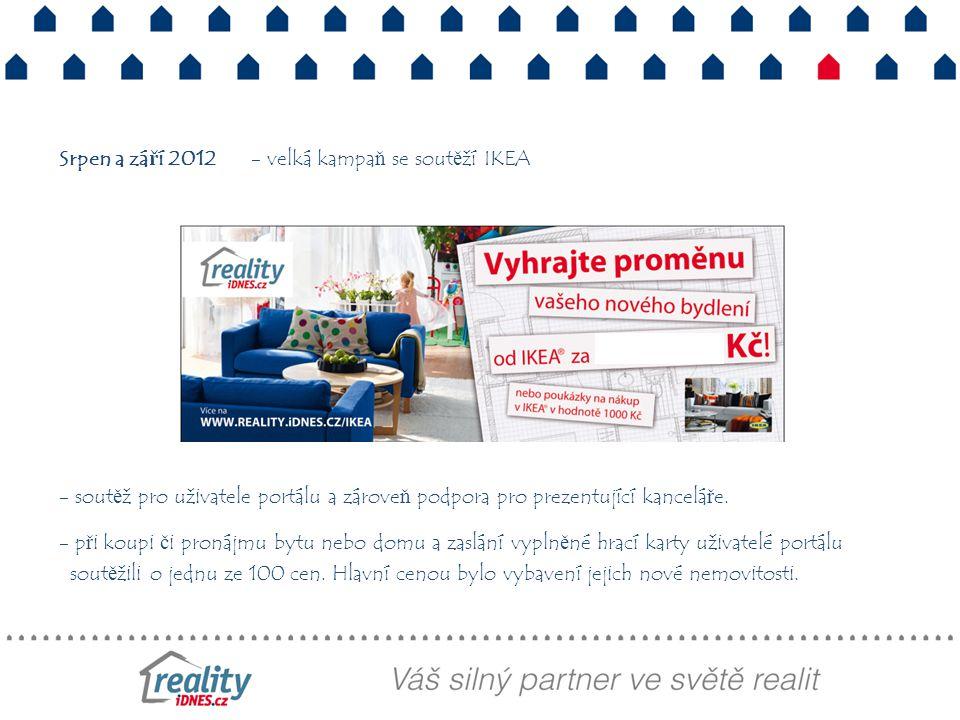 Srpen a září 2012- velká kampaň se soutěží IKEA - soutěž pro uživatele portálu a zároveň podpora pro prezentující kanceláře. - při koupi či pronájmu b