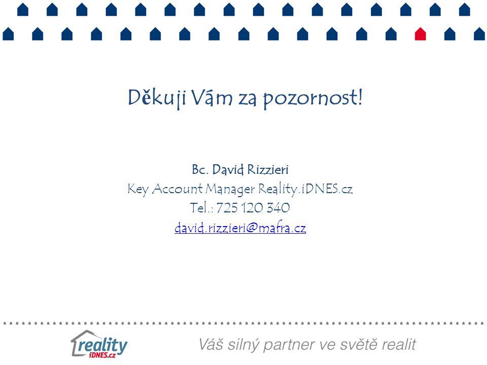 Děkuji Vám za pozornost! Bc. David Rizzieri Key Account Manager Reality.iDNES.cz Tel.: 725 120 340 david.rizzieri@mafra.cz