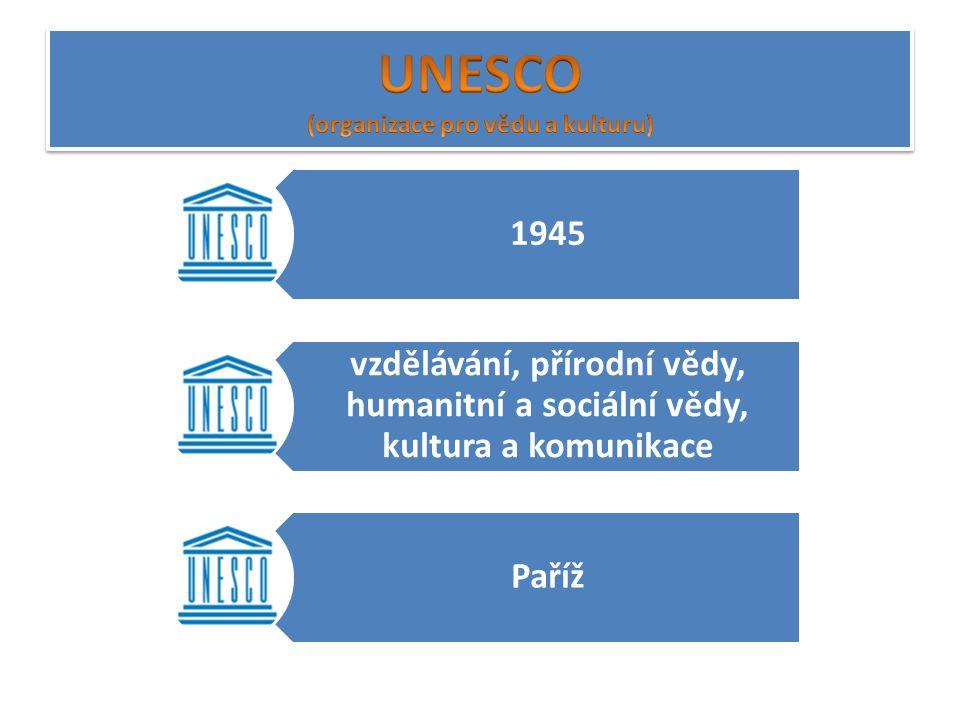1945 vzdělávání, přírodní vědy, humanitní a sociální vědy, kultura a komunikace Paříž