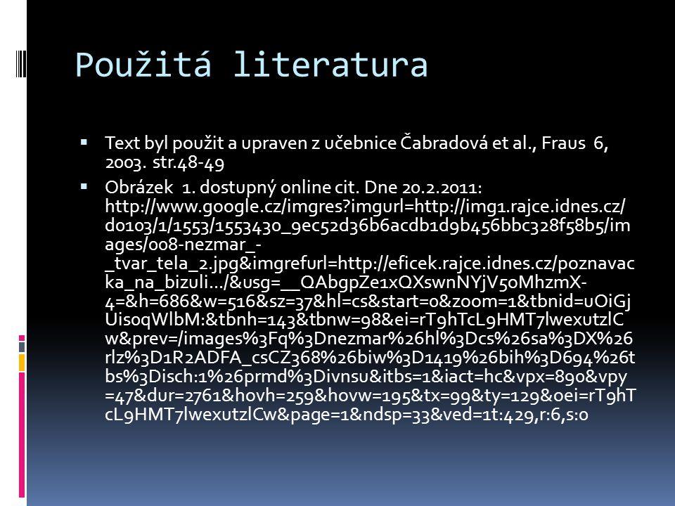Použitá literatura  Text byl použit a upraven z učebnice Čabradová et al., Fraus 6, 2003.