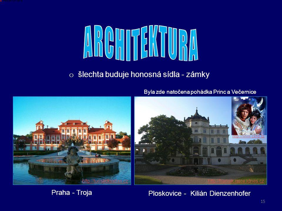 o šlechta buduje honosná sídla - zámky Praha - Troja Hodnoceni http://turistickyatlas.czhttp://hansik.rajce.idnes.cz Ploskovice - Kilián Dienzenhofer