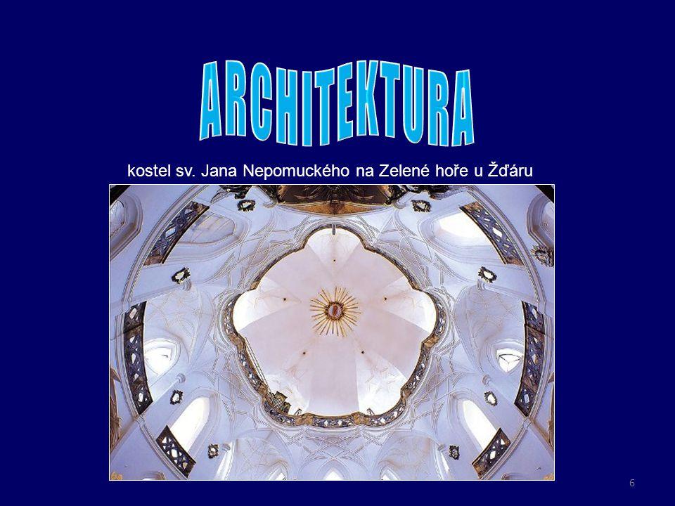 o perspektiva nástropní malby vytváří iluzi nebeského prostoru, kde nechybí postavy andělů a svatých kupole kostela sv.