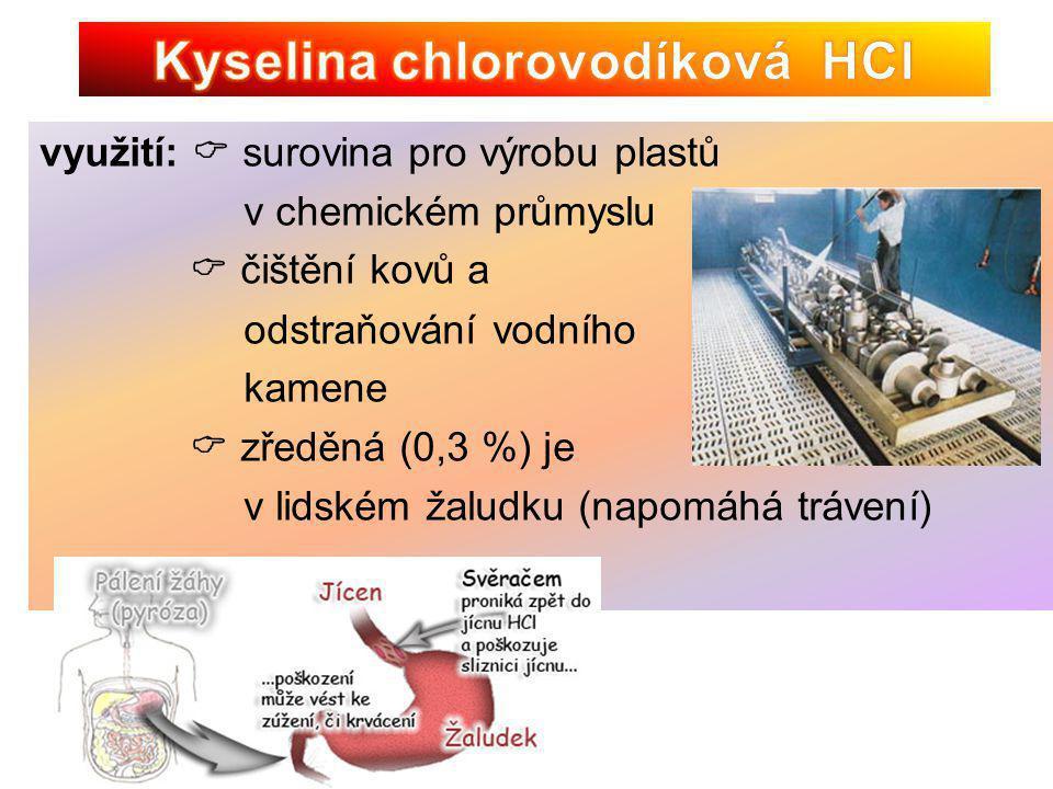 vlastnosti:  bezbarvá olejovitá kapalina  velmi silná žíravina, leptá  koncentrovaná je 96 - 98 %  odebírá látkám vodu, organické látky jejím působením uhelnatí  při ředění se uvolňuje teplo