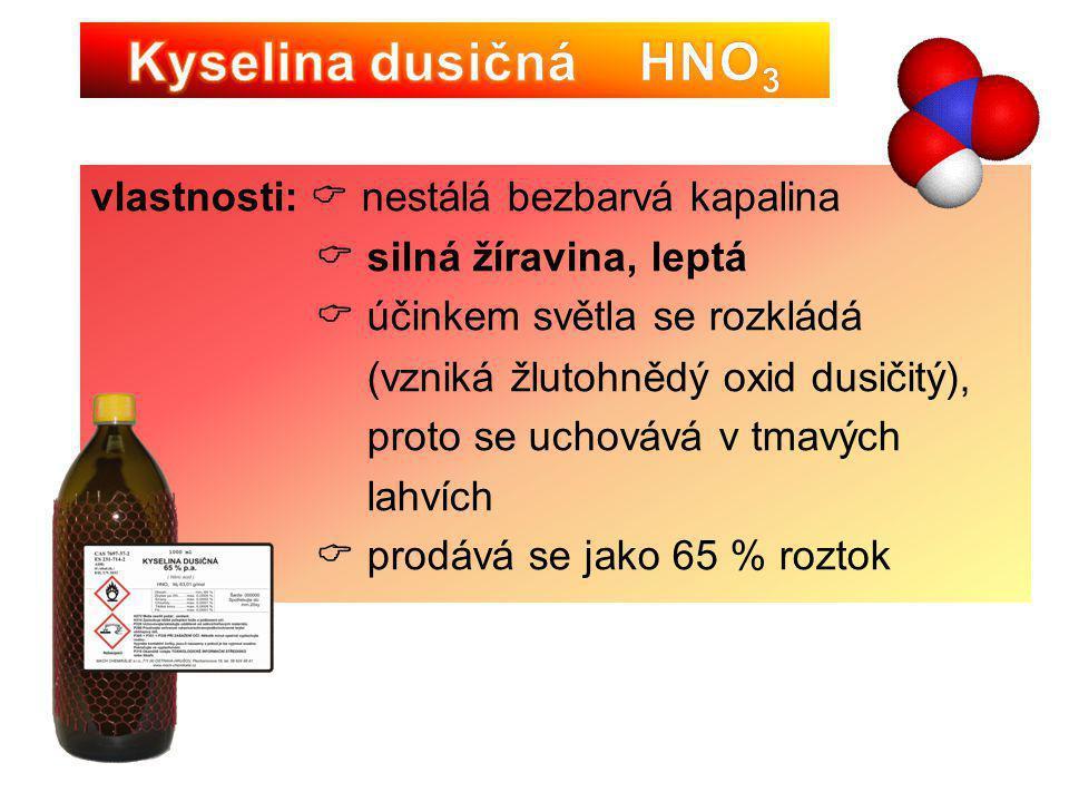 využití:  výroba dusíkatých hnojiv (tzv. ledky)  výroba léčiv, plastů a výbušnin