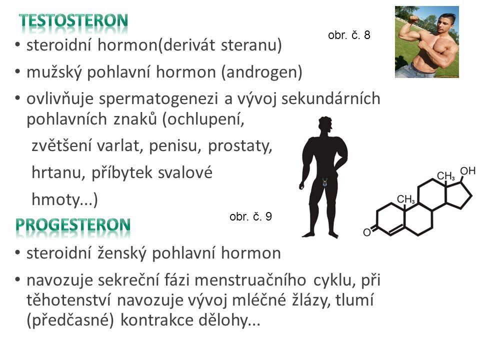 steroidní hormon(derivát steranu) mužský pohlavní hormon (androgen) ovlivňuje spermatogenezi a vývoj sekundárních pohlavních znaků (ochlupení, zvětšen