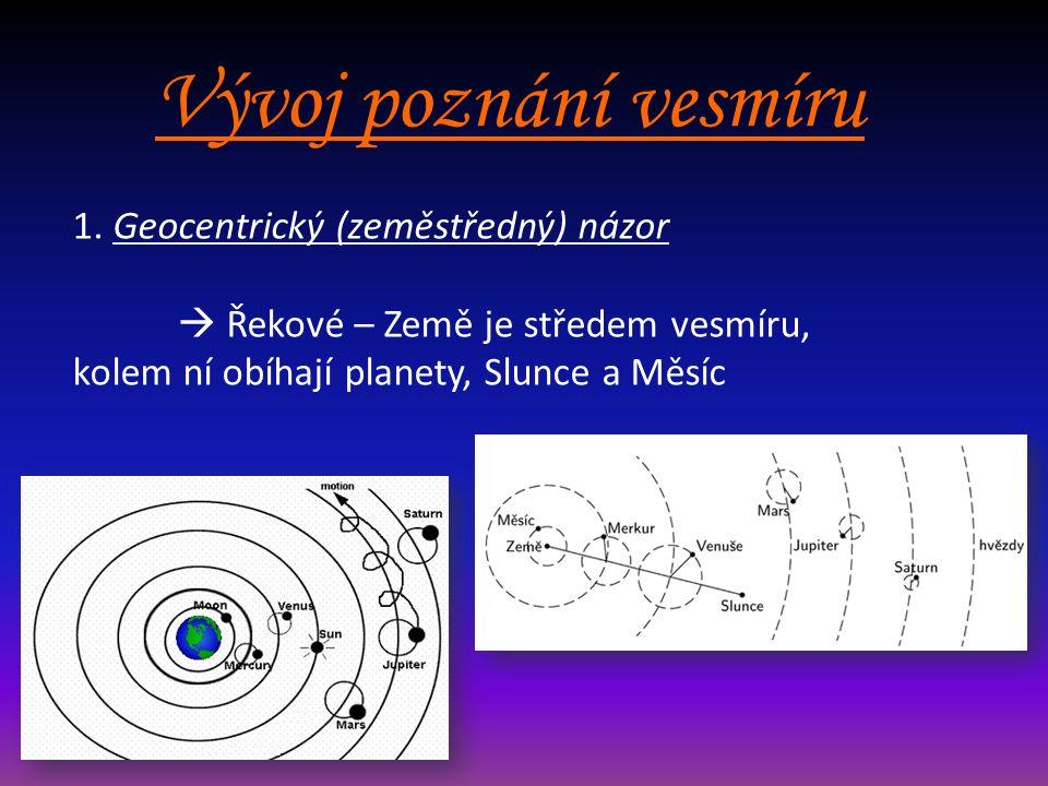Vývoj poznání vesmíru 1. Geocentrický (zeměstředný) názor  Řekové – Země je středem vesmíru, kolem ní obíhají planety, Slunce a Měsíc