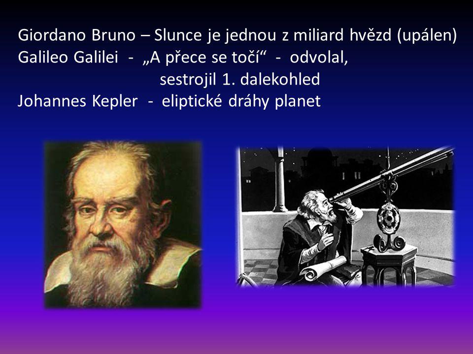 """Giordano Bruno – Slunce je jednou z miliard hvězd (upálen) Galileo Galilei - """"A přece se točí"""" - odvolal, sestrojil 1. dalekohled Johannes Kepler - el"""