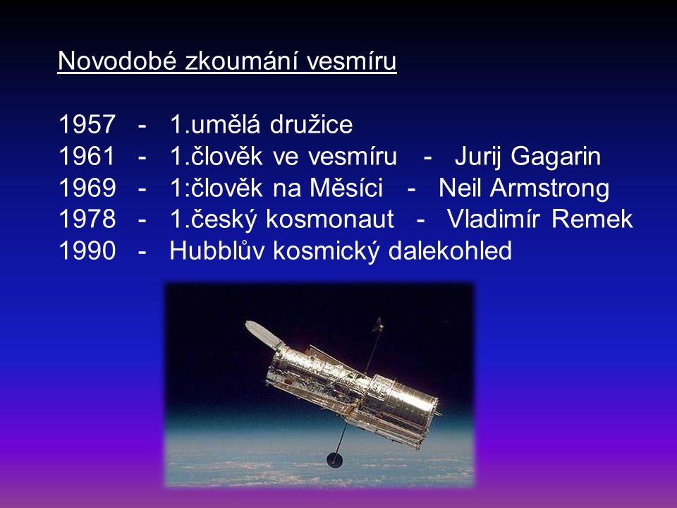 Novodobé zkoumání vesmíru 1957 - 1.umělá družice 1961 - 1.člověk ve vesmíru - Jurij Gagarin 1969 - 1:člověk na Měsíci - Neil Armstrong 1978 - 1.český