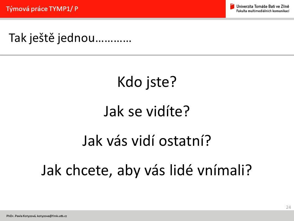 24 PhDr. Pavla Kotyzová, kotyzova@fmk.utb.cz Tak ještě jednou………… Týmová práce TYMP1/ P Kdo jste.