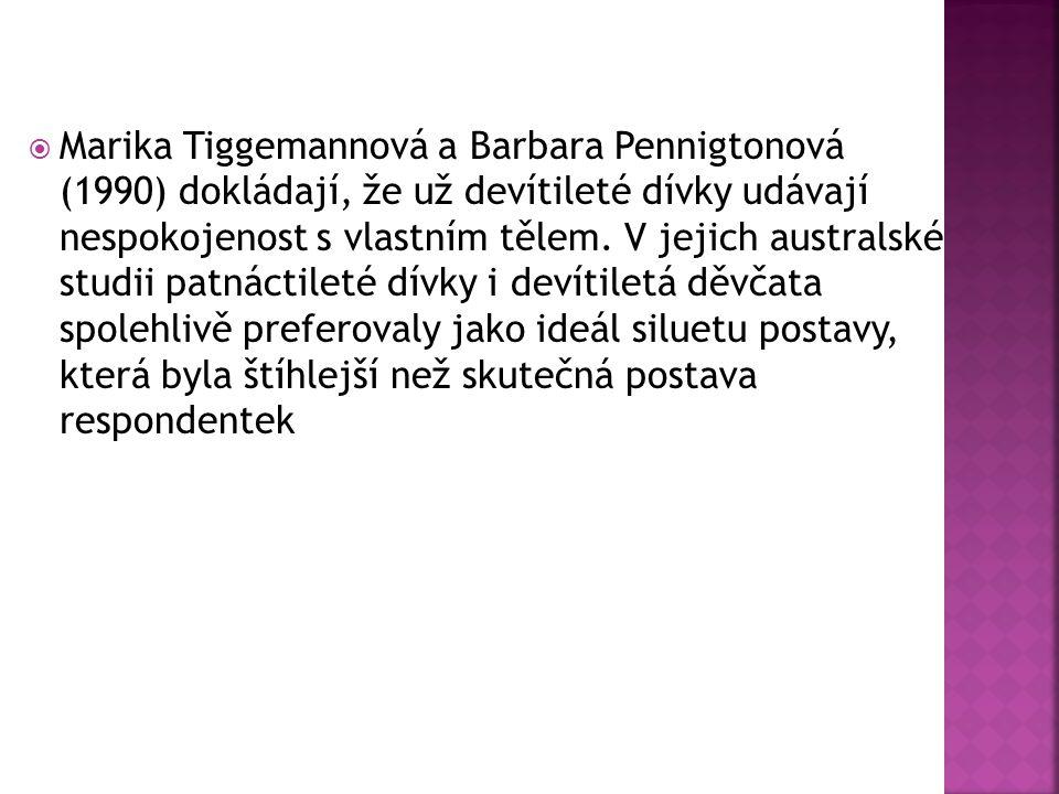  Marika Tiggemannová a Barbara Pennigtonová (1990) dokládají, že už devítileté dívky udávají nespokojenost s vlastním tělem. V jejich australské stud