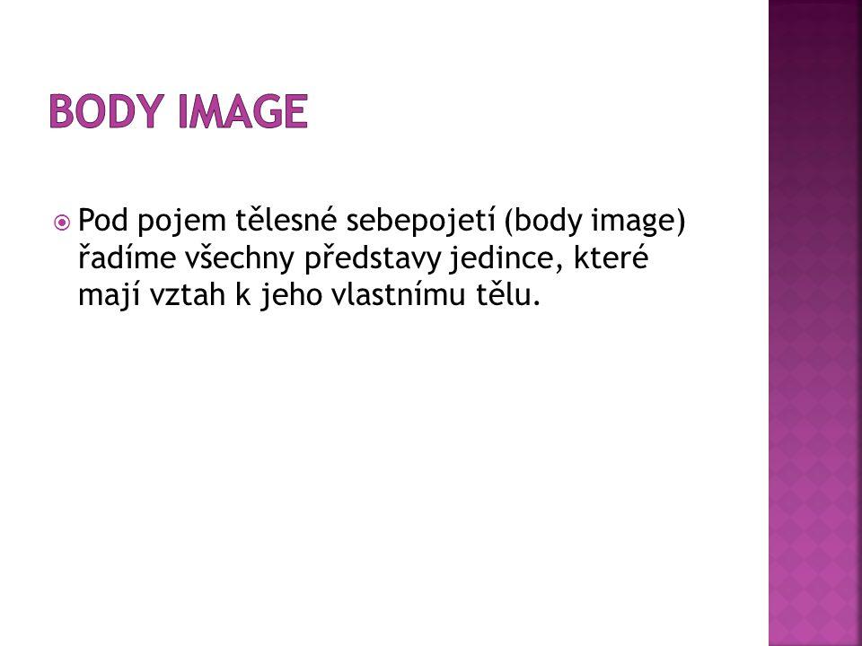  Pod pojem tělesné sebepojetí (body image) řadíme všechny představy jedince, které mají vztah k jeho vlastnímu tělu.