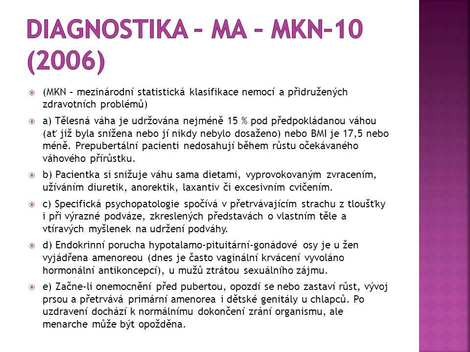  (MKN – mezinárodní statistická klasifikace nemocí a přidružených zdravotních problémů)  a) Tělesná váha je udržována nejméně 15 % pod předpokládano