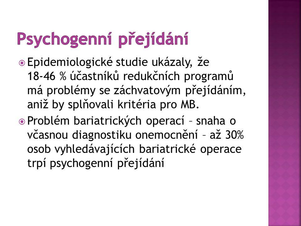 Epidemiologické studie ukázaly, že 18-46 % účastníků redukčních programů má problémy se záchvatovým přejídáním, aniž by splňovali kritéria pro MB.