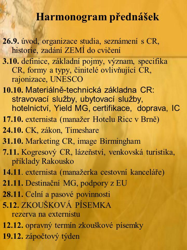 Harmonogram přednášek 26.9. úvod, organizace studia, seznámení s CR, historie, zadání ZEMÍ do cvičení 3.10. definice, základní pojmy, význam, specifik