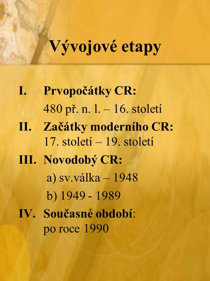 Vývojové etapy I.Prvopočátky CR: 480 př. n. l. – 16. století II.Začátky moderního CR: 17. století – 19. století III.Novodobý CR: a) sv.válka – 1948 b)