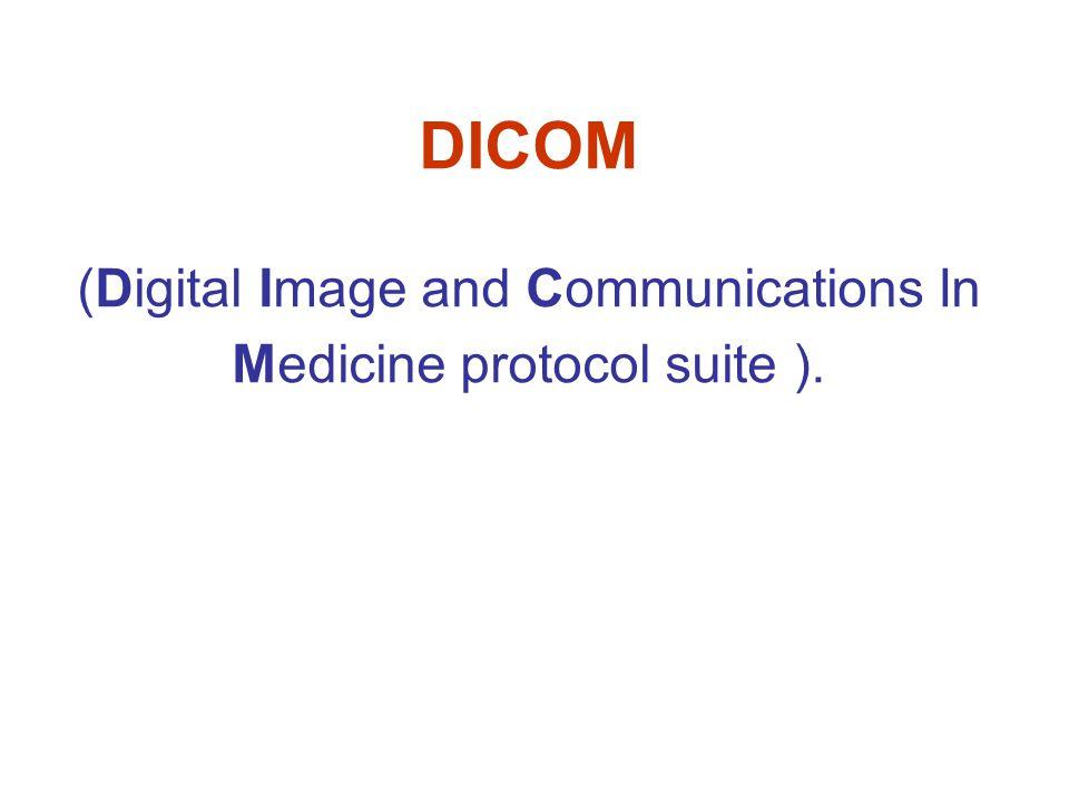 DIMSE protokol Stroj DIMSE protokol definuje procedury a pravidla kódování nezbytná pro tvorbu zpráv využívaných pro výměny příkazů a odezev mezi dvojicí uživatelů DIMSE služeb, respektive dvěma DICOM aplikačními entitami.