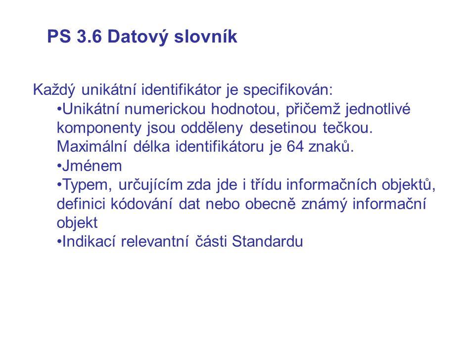 PS 3.6 Datový slovník Každý unikátní identifikátor je specifikován: Unikátní numerickou hodnotou, přičemž jednotlivé komponenty jsou odděleny desetinou tečkou.