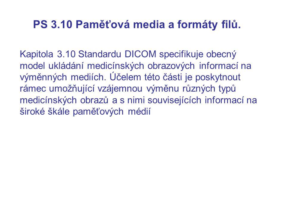 PS 3.10 Paměťová media a formáty filů. Kapitola 3.10 Standardu DICOM specifikuje obecný model ukládání medicínských obrazových informací na výměnných