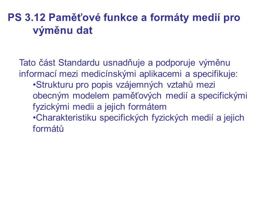 PS 3.12 Paměťové funkce a formáty medií pro výměnu dat Tato část Standardu usnadňuje a podporuje výměnu informací mezi medicínskými aplikacemi a speci