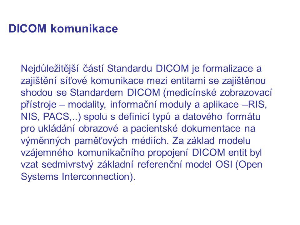 DICOM komunikace Nejdůležitější částí Standardu DICOM je formalizace a zajištění síťové komunikace mezi entitami se zajištěnou shodou se Standardem DICOM (medicínské zobrazovací přístroje – modality, informační moduly a aplikace –RIS, NIS, PACS,..) spolu s definicí typů a datového formátu pro ukládání obrazové a pacientské dokumentace na výměnných paměťových médiích.