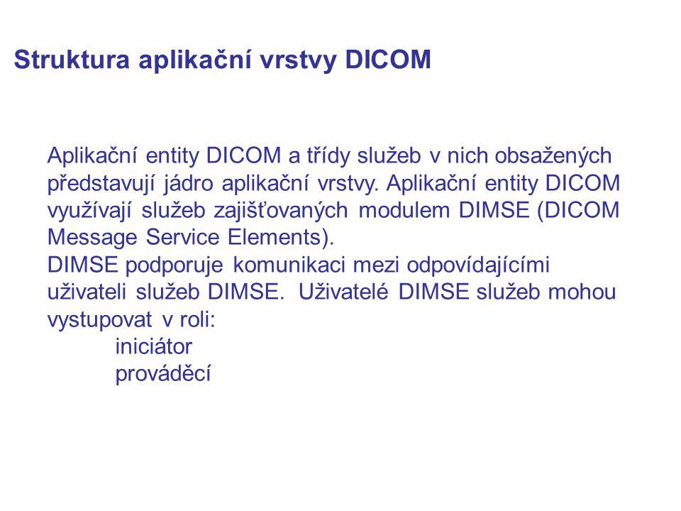 Struktura aplikační vrstvy DICOM Aplikační entity DICOM a třídy služeb v nich obsažených představují jádro aplikační vrstvy. Aplikační entity DICOM vy