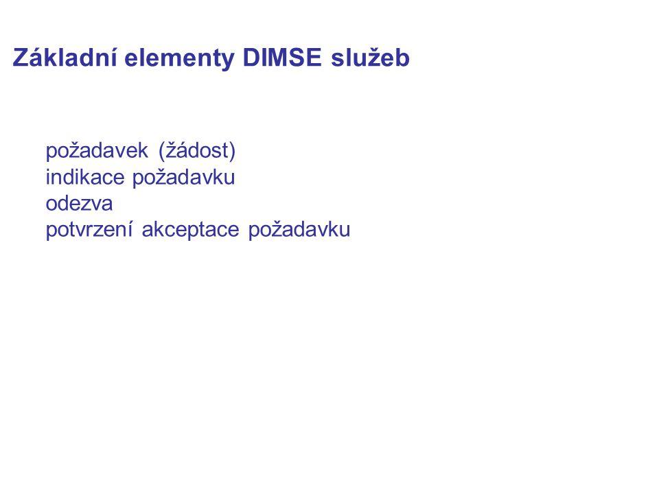 Základní elementy DIMSE služeb požadavek (žádost) indikace požadavku odezva potvrzení akceptace požadavku